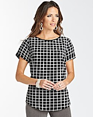 Grid Printed Blouse With Shaped Hem
