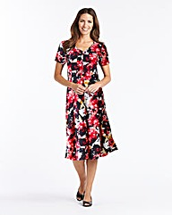 Printed Fit And Flare Crepe Dress
