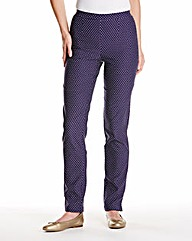 Navy Spot Pull On Trousers 27