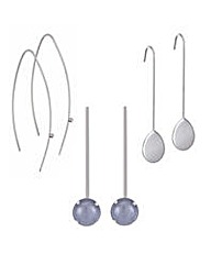 Mood Set of three silver drop earring