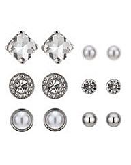 Mood Silver crystal stud earring pack