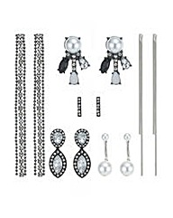 Mood crystal and pearl mixed earring