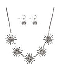 Mood starburst necklace and earring set