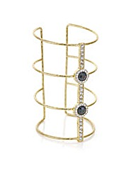 Mood Gold open bar crystal cuff bracelet