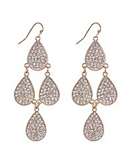 Mood Rose gold pave teardrop earring