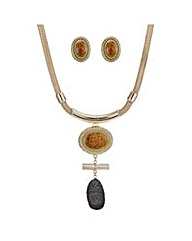 Mood druzy necklace and earring set