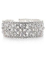 Mood Silver crystal open cuff bracelet