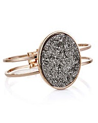 Mood Rose gold grey druzy stone bangle