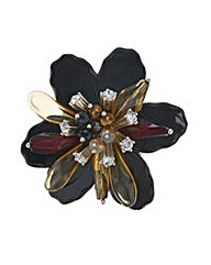 Mood Jet 3d flower crystal brooch