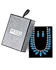 Mood navette necklace and earring set