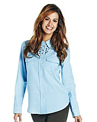 Chambray Shirt with Embellishment