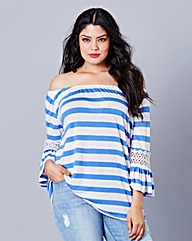 Simply Be Stripe Crochet Sleeve Top