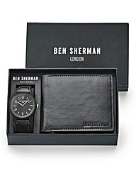 Ben Sherman Black Watch & Wallet Set