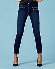 Hollie Zip Detail Slim Leg Jeans Reg