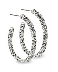 Mood Crystal Encrusted Oval Hoop Earring