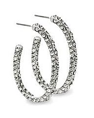 Mood Crystal Encrusted Oval Hoop Earring