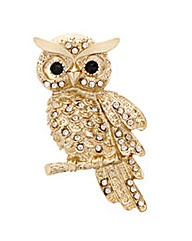 Mood Gold Crystal Owl Brooch