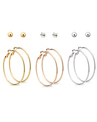 Mood Mix Plate Studs And Hoops Set