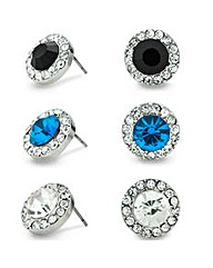 Mood Three Pack Coloured Stud Earrings