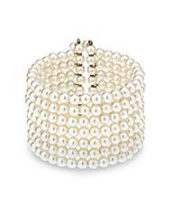 Mood Seven Row Pearl Cuff Bracelet