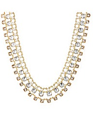 Mood Three Row Crystal Pearl Necklace