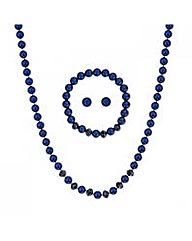 Mood Blue Facet Bead And Pearl Set