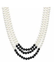 Mood Three Row Pearl Chunky Necklace