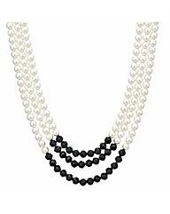 Mood Three Row Pearl Chunky Necklace