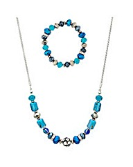 Mood Blue Bead And Crystal Set