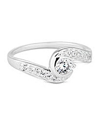 Simply Silver cubic zirconia swirl ring