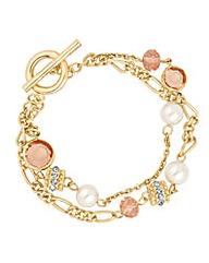 Jon Richard Pink bead and pearl bracelet