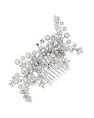 Jon Richard flower and pearl hair comb
