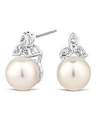 Jon Richard leaf and pearl stud earring
