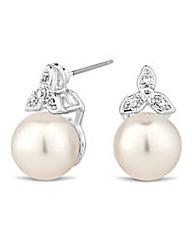 Jon Richard leaf and pearl stud earring