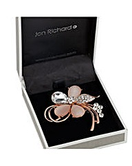 Jon Richard Cateye crystal flower brooch