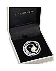 Jon Richard Pearl crystal swirl brooch