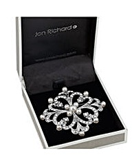Jon Richard Pearl and crystal brooch