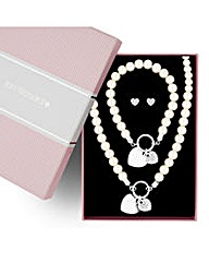 Jon Richard pearl and heart charm set