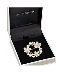 Jon Richard Cateye crystal wreath brooch