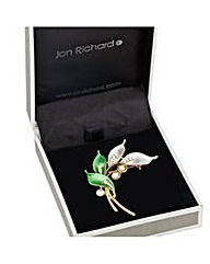 Jon Richard Tonal enamel leaf brooch
