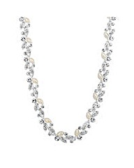 Jon Richard Pearl crystal leaf necklace