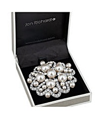Jon Richard pearl crystal heart brooch