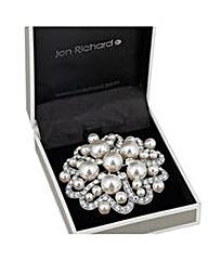 Jon Richard pearl crystal heart brooch
