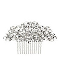 Mood silver oval crystal hair comb