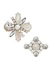 Mood Crystal and pearl brooch pack