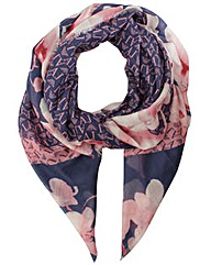Armani Jeans Navy Floral Print Scarf