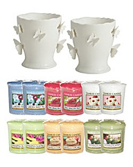 YC Butterfly Votive Holders & 12 Votives