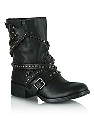 Daniel Respect Diamante Strap Biker Boot