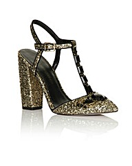 Little Mistress Gold Glitter T-bar Heel