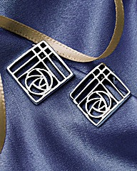 Macintosh Style Silver Clip Earrings